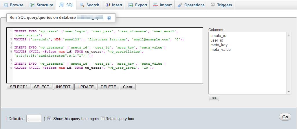 Adaugare cont nou de admin via MySQL in WordPress