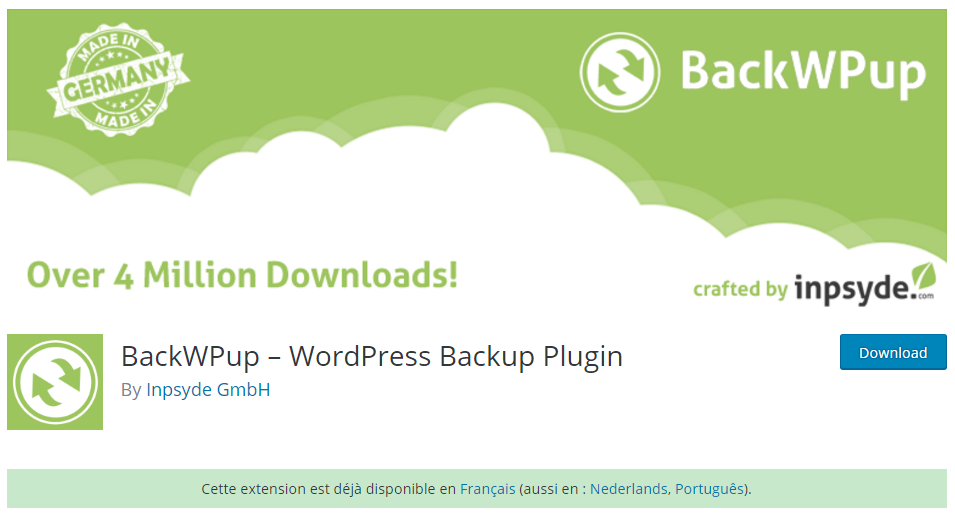 Recomadare plughin backup WordPress