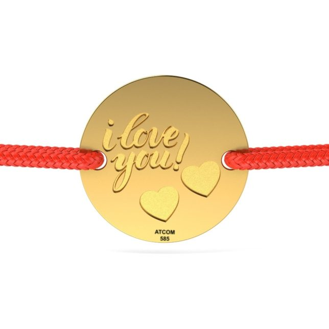 bratara din aur galben cu snur rosu cod i love you cu inimioare 1 2271