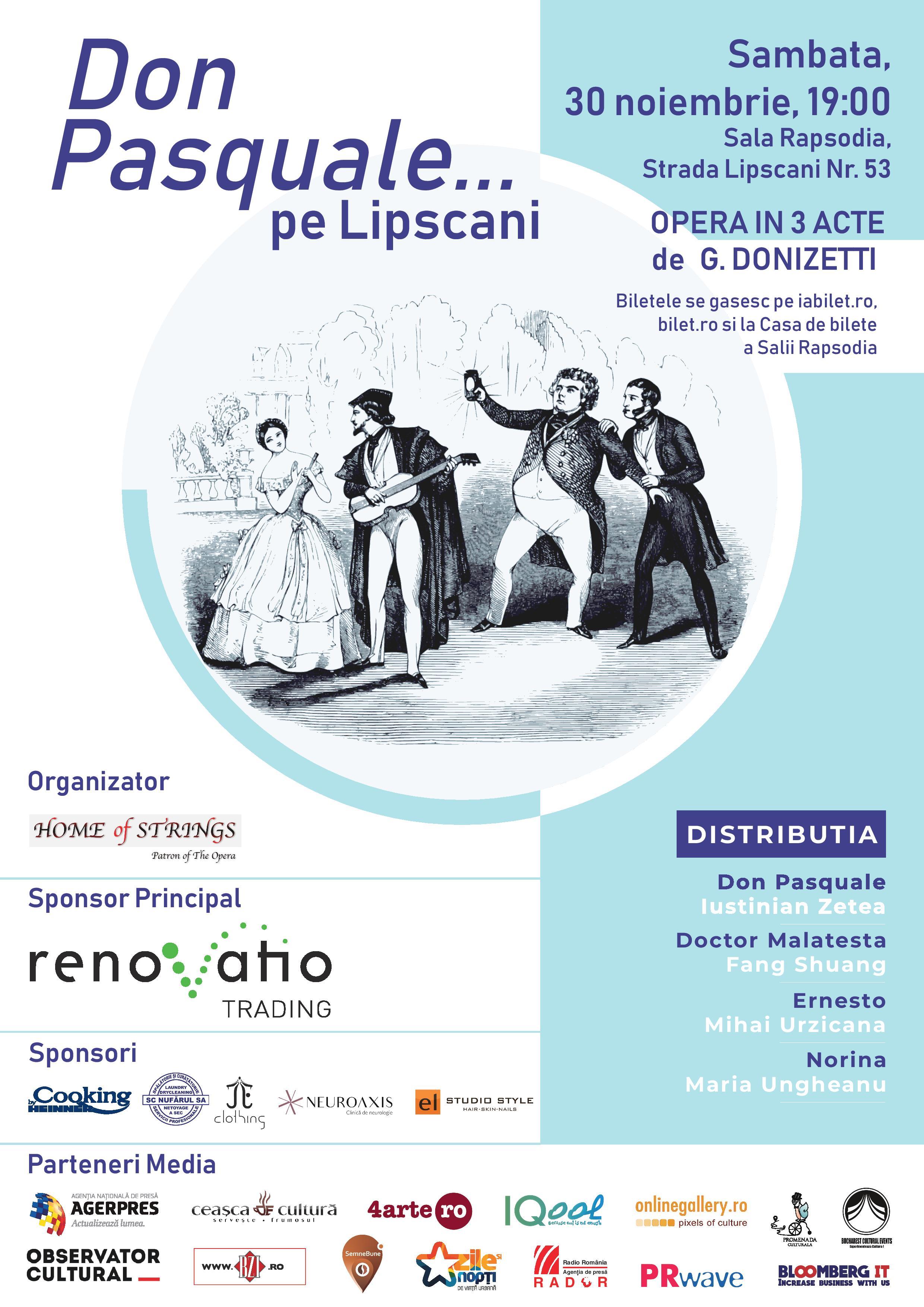 """Asociatia Home of Strings va invita la Opera """"Don Pasquale"""" de Gaetano Donizetti"""