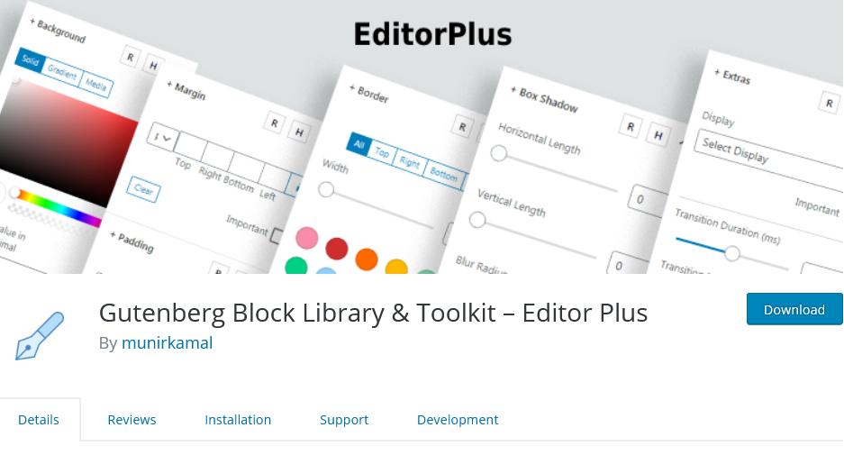 Gutenberg Block Library & Toolkit – Editor Plus